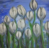 Schilderij tulpen blauw met wit