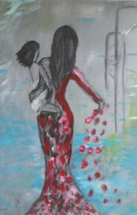 Schilderij vrouw met kind,  titel: volg je eigen weg