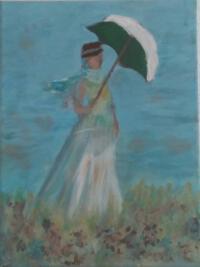 Schilderij vrouw met paraplu