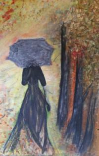 Schilderij vrouw met paraplu in de herfst