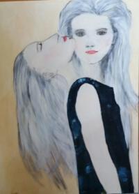 Schilderij vrouw met twee gezichten