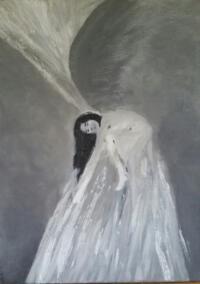 Schilderij vrouw, engel