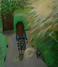 Schilderij parkwandeling vrouw met hond