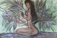 schilderij ;women intert wined n tree