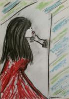 meisje rode jurk