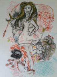 canvas pastelkrijt portret illustratie